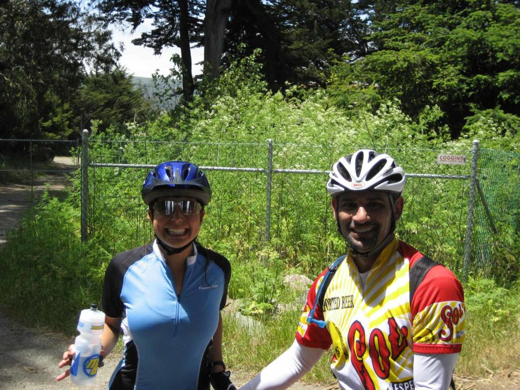 Erica and Rohit about halfway to Mt Tam